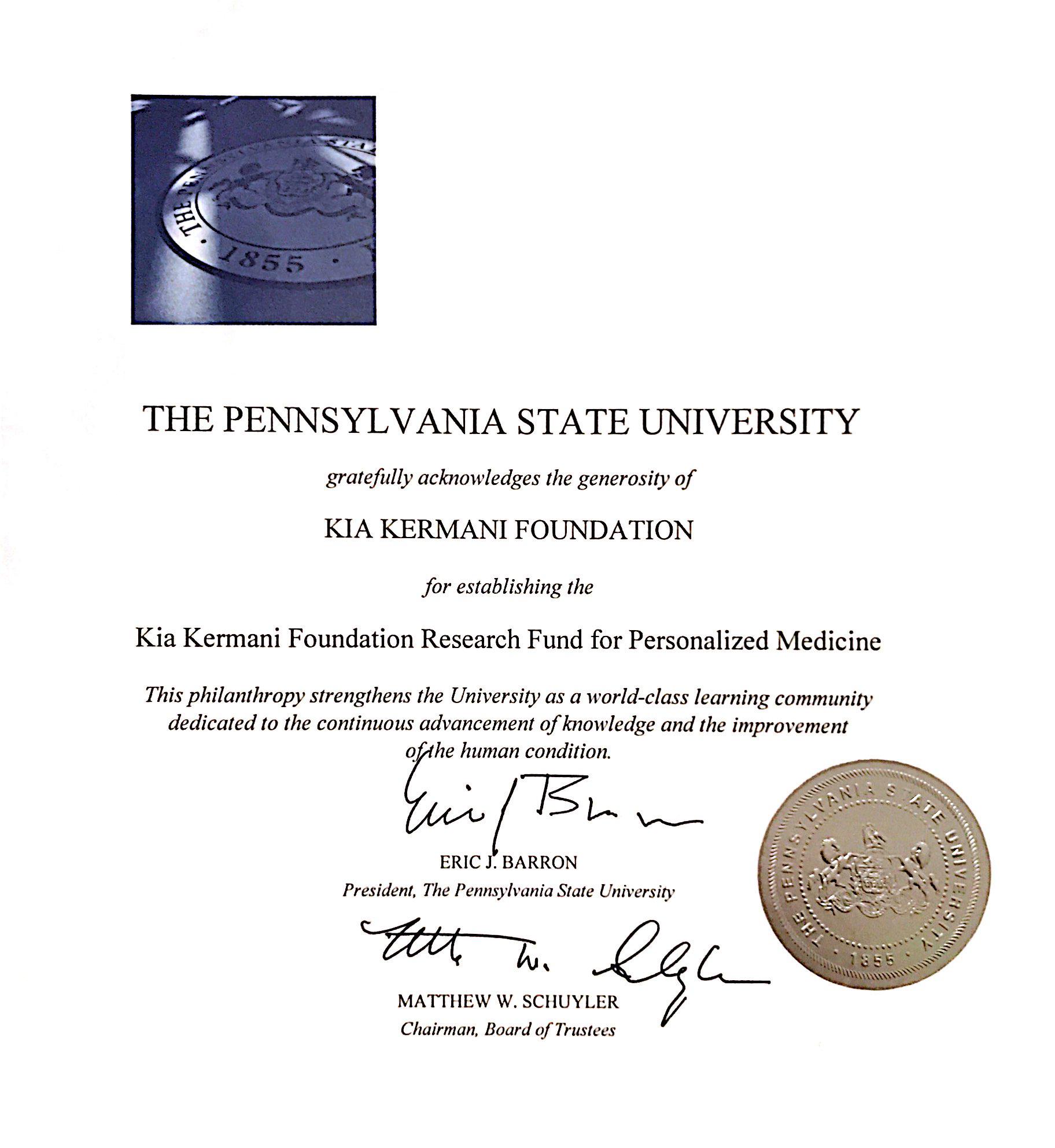 Penn State Acknowledgement